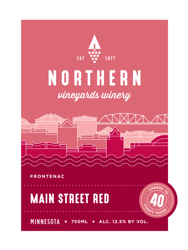 This is the Northern Vineyards Main Street Red Wine Label
