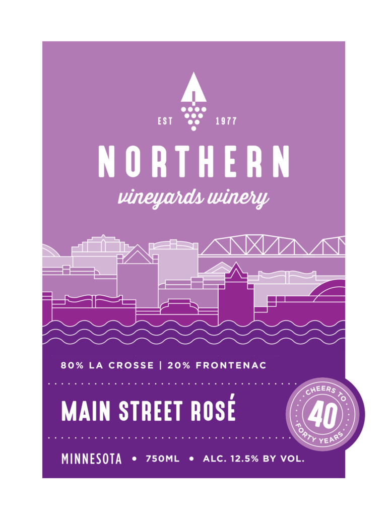 This is the Northern Vineyards Main Street Rose Wine Label designed by IMAGEHAUS. IMAGEHAUS is a strategic design firm out of Minneapolis, MN.