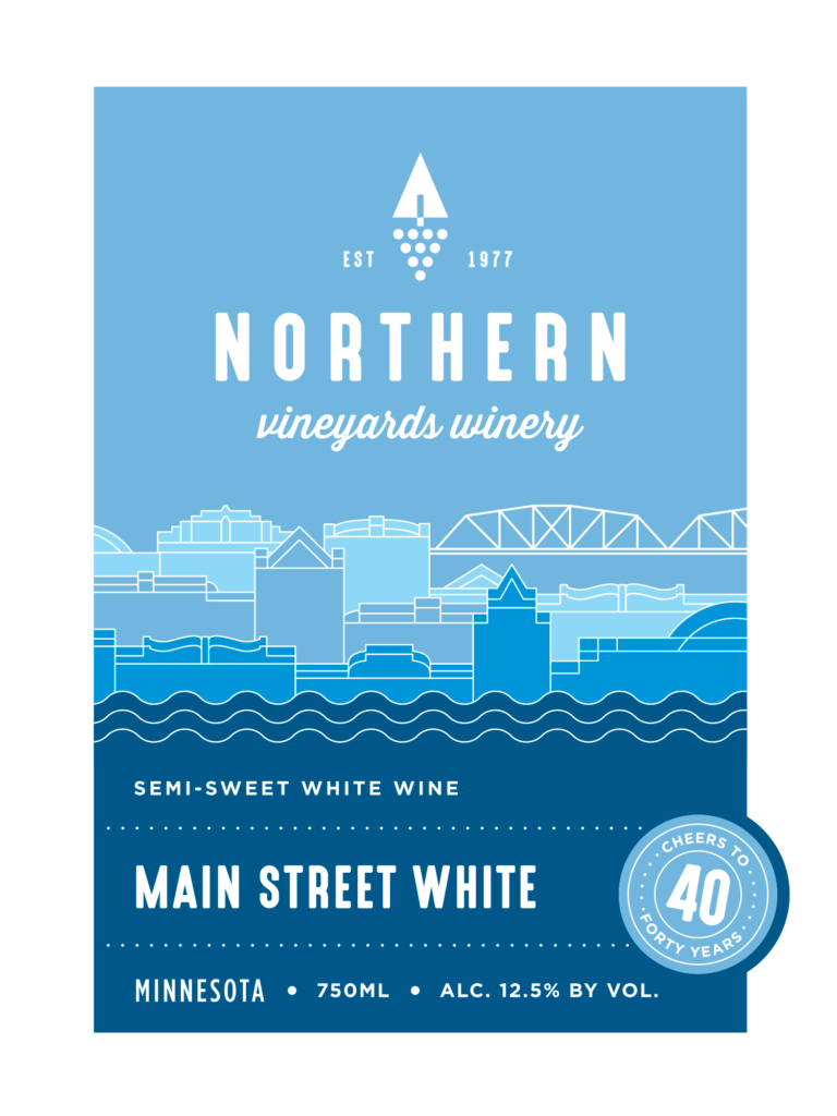 This is the Northern Vineyards Main Street White Wine Label designed by IMAGEHAUS. IMAGEHAUS is a strategic design firm out of Minneapolis, MN.
