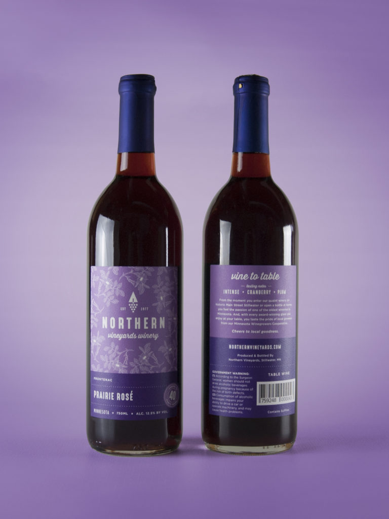 Northern Vineyards Prairie Rose wine bottle