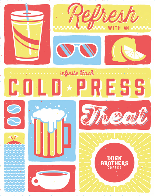 Dunn Brothers Coffee Cold Press Illustration and Design