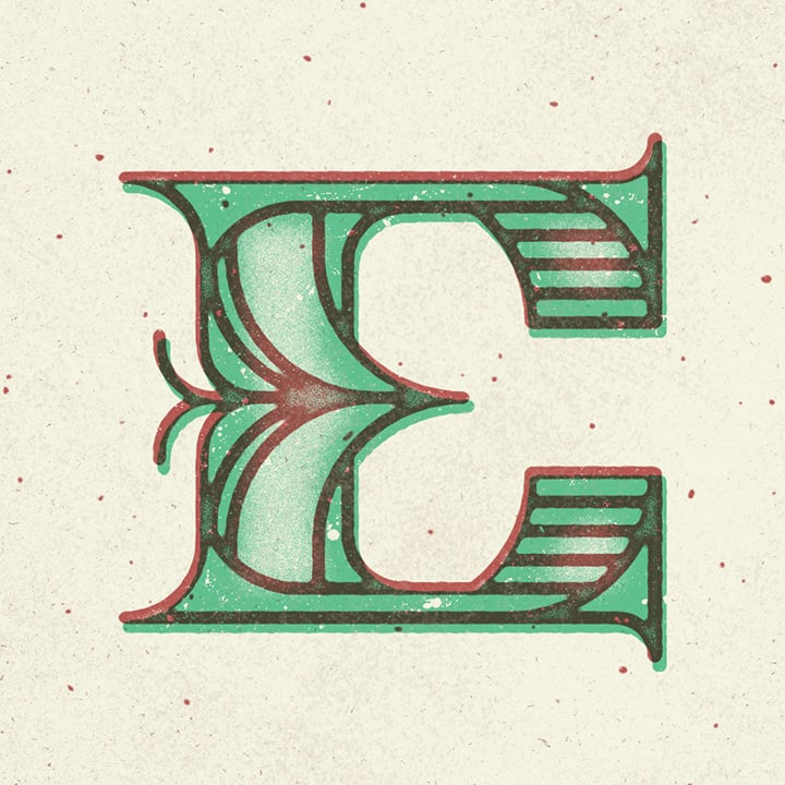 Graphic Design Typography of the Letter E