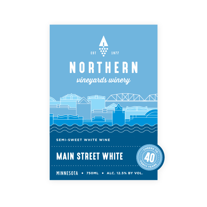 Northern Vineyards Main Street White wine bottle label