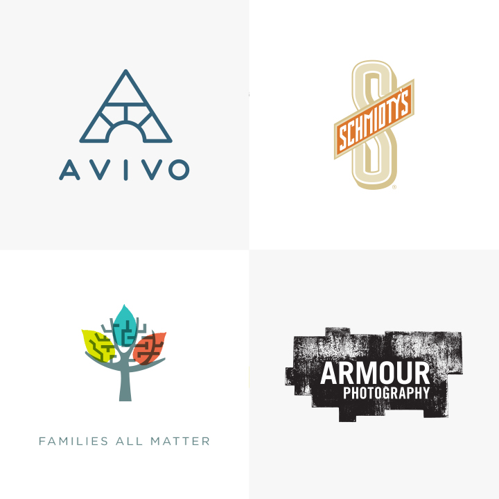 Avivo, Schmidty's, Families All Matter, and Armour Photography Logos